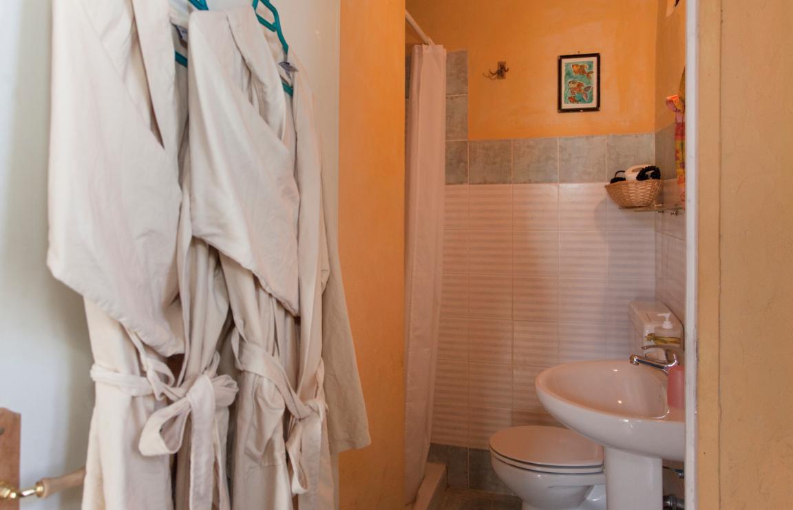 Panoramica del bagno della camera Castagno. In primo piano a destra il lavandino e il water, in fondo alla parete di sinistra la doccia. Le pareti sono rivestite da due motivi di piastrelle coordinate.