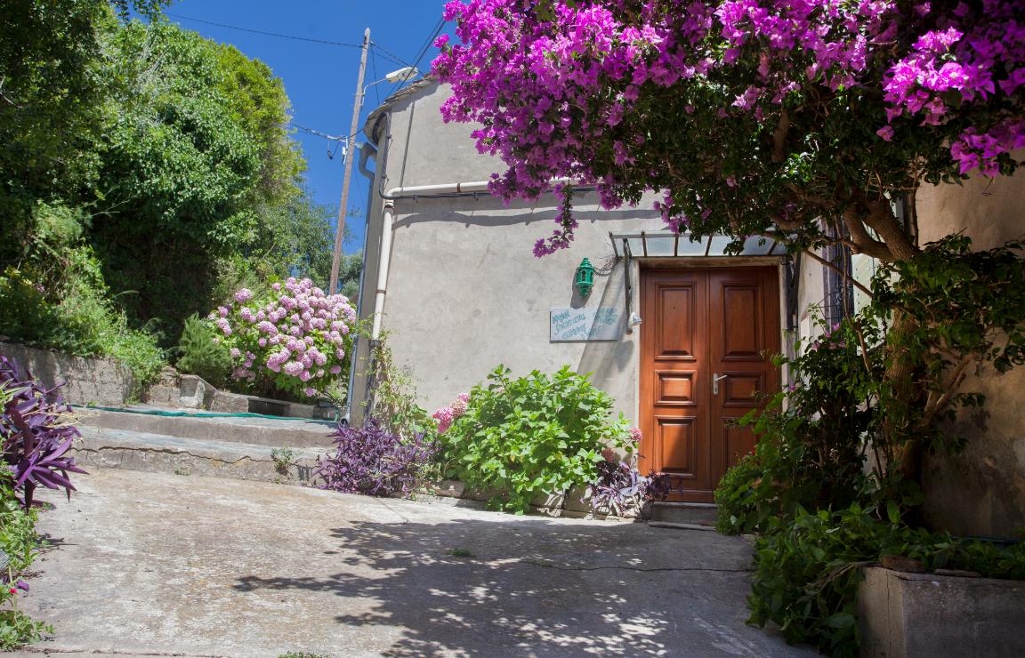 Corsica: dove alloggiare? Sul piccolo piazzale, circondato da piante ornamentali e in fiore (tradescanzie rosse, ortensie, buganvillee, gerani), si apre il portone d'ingresso della Maison Simonpietri.